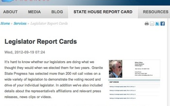 GRAPHIC: Granite State Progress Legislator Report Cards website helps New Hampshire voters to bone-up on candidates and issues.