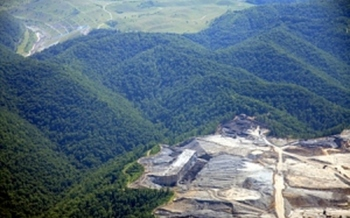 Blair Mountain with adjacent mountaintop removal mine. Photo by Kenneth King courtesy of Friends of Blair Mountain.