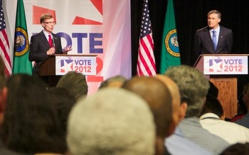 PHOTO: Gubernatorial candidates Rob McKenna (L) and Jay Inslee (R) faced off on Tues. night in Yakima, in their third of five debates. Photo courtesy of AARP Washington (a cosponsor of the debate).