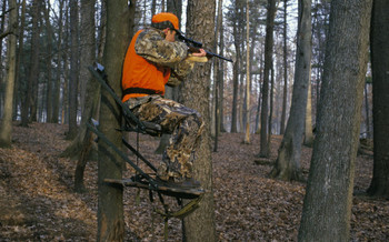 PHOTO: Hunter in tree stand. Courtesy U.S. Fish and Wildlife Service