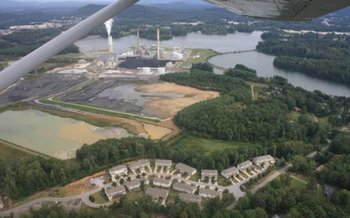 Photo: Aerial view of Progress Energy's coal fired power plant in Asheville. Courtesy: Kelly Martin