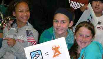 PHOTO: Many schools have events or assemblies to announce their vote results. This shot was taken at a 2008 Mock Election event at Beaverton City Hall. Courtesy of League of Women Voters of Oregon.