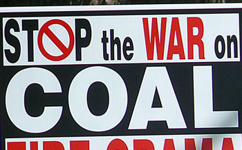 PHOTO: Ohioans are being inundated with messages and signs claiming that a so-called �War on Coal� is killing jobs in coal country. But some are calling the campaign�s bluff.