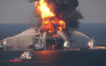 PHOTO: U.S. Coast Guard fire boat response to the Deepwater Horizon explosion. Photo courtesy of U.S. Coast Guard.