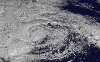 Satellite image, taken on Oct. 29, 2012, shows Hurricane Sandy centered off of Maryland and Virginia. Courtesy: NOAA