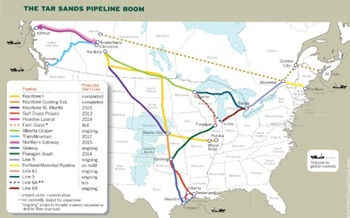 Thousands of tar sands pipelines would criss cross the nation  Courtesy of: Catherine Mann/InsideClimate News