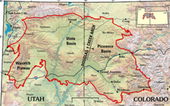 PHOTO: Utah and Colorado are experiencing the same oil and gas exploration boom � and the same hikes in air pollution levels. Map courtesy U.S. Geological Survey.