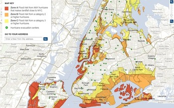 GRAPHIC:  Advocates say a high concentration of people with disabilities live in flood-prone areas of New York � like Zone A (red on map)� so planners need to take that into account for future storms.