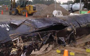 A tar sands pipeline that burst in 2010 contaminated Michigan's Kalamazoon River. Protests are being held around New England against using a 62-year-old pipeline to move Canadian tar sands to Portland for export. Photo courtesy NWF