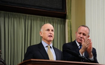 PHOTO: Governor Jerry Brown delivering his State of the State Address says California has a balanced budget and is on the move.