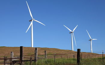 PHOTO: Love 'em or hate 'em, wind turbines are here to stay in areas such as the Columbia River Gorge. A new bill in Congress would require competitive bids from developers to lease public land for wind and solar projects. Courtesy of TheGorge.com