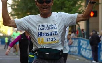 PHOTO: When he's not running his company, he's running! Hiroshi Morihara, age 75, is one of Oregon's over-50