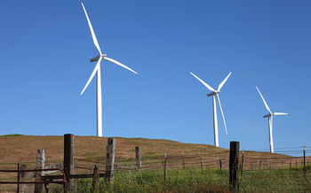 PHOTO: Love 'em or hate 'em, wind turbines are here to stay in the rural West. A new bill in Congress would require competitive bids from developers to lease public land for wind and solar projects. Courtesy of TheGorge.com