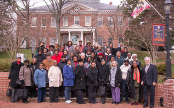 PHOTO: Consumer advocates meet at the State House to speak out against utility fees. Photo courtesy: AARP Maryland