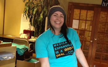 PHOTO: Meagan McKay at Montana Women Vote, wearing one of the T-shirts that hundreds will don today at the Capitol. Courtesy of Montana Women Vote.