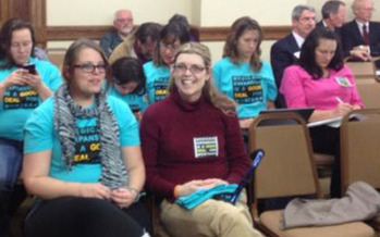 PHOTO: Montanans wait to testify at a House hearing about expanding Medicaid under the Affordable Care Act. Photo credit: Montana Women Vote.