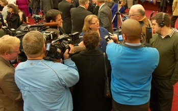 PHOTO: VEA president Meg Gruber fields questions regarding the group's 150th anniversary. Courtesy of VEA.