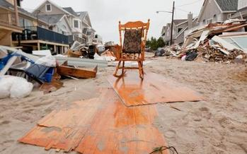 PHOTO: Debris piled high outside of Long Beach, NY, homes in November. Homelessness persists nearly six months after Hurricane Sandy created widespread flooding, power outages and devastation on Long Island. Courtesy FEMA.