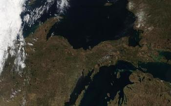 Michigan's Upper Peninsula has abundant mineral resources. More than a century of mining has created serious environmental contamination. Photo, courtesy NASA