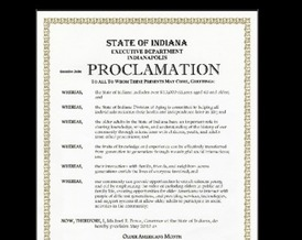 Image: Proclamation from Governor Mike Pence naming May
