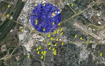 Pinned locations show resident odor complaints outside the one mile radius MCE says it is not meant to be a scientific analysis.  Courtesy of: MCE