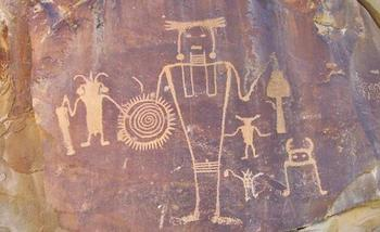 PHOTO: Petroglyphs and pictographs of past centuries are among the attractions at Dinosaur National Monument. This pictograph is in the McKee Springs area. Courtesy of National Park Service.