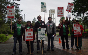 PHOTO: The Student Support Services staff at The Evergreen State College is on strike after 16 months of negotiations have failed to produce the group's first contract. Courtesy WFSE.