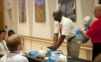 PHOTO: This is National CPR and AED Awareness Week. The skills are easy to learn and can save lives, although only one-third of people who have a sudden cardiac arrest receive CPR from a bystander. Photo courtesy of NASA.