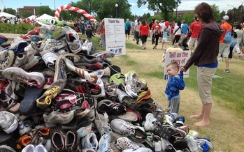 PHOTO: More than 500 pairs of shoes were donated for the Denver Heart and Stroke Walk. Each pair was given in connection to a story about how cardiovascular disease has affected families. Photo courtesy of American Heart Association-SW Affiliate