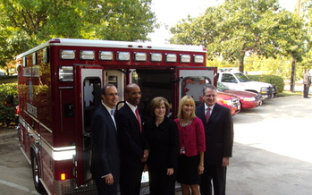 PHOTO: The American Heart Association says the Caruth Grant Initiative through the Communities Foundation of Texas helped fill equipment gaps for Dallas County EMS agencies and streamlined the protocol for heart attack care. L to R: Brent Christopher, Dr. Clyde Yancy, Nancy Brown, Midge LaPorte Epstein and Dr. John Warner. CREDIT: AHA