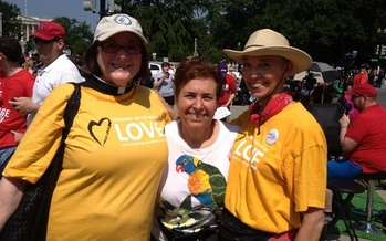 PHOTO: Virginia supporters of same-sex marriage celebrate DOMA decision at the U.S. Supreme Court.