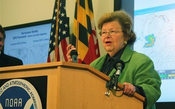 PHOTO: Maryland Sen. Barbara Mikulski is announcing major new investments in national weather forecasting technology to be based in Maryland. Photo credit: NOAA