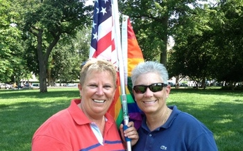 PHOTO: Maryland couple Michele Horrigan and Deb Gardiner celebrate DOMA decision at the U.S. Supreme Court.