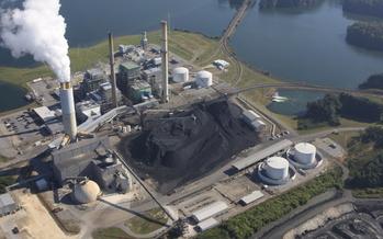 Photo: Duke Energy's Coal fired power plant in Asheville. Courtesy: WNCA