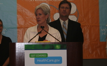 IMAGE: HHS Director Kathleen Sebelius kicks off enrollment drive for Affordable Care Act at Mountain Park Health Center in Phoenix. CREDIT: Doug Ramsey