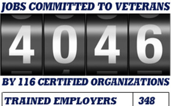 Graphic: The Virginia Values Veteran program has committments from more than 100 certified businesses to hire more than 4,000 veterans. Graphic: V3