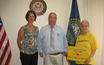Photo: Advocates celebrate Medicare Anniversary at NH Congressional Delegation offices. Credit: Natasha Perez