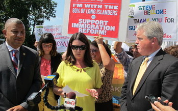 PHOTO: Maryann Slutsky at recent immigration reform rally, who says people of many faiths will be joining business and labor leaders on Long Island in a call for reform. Photo Credit: Kevin Fung