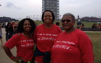 PHOTO: Penny Franklin (right), president of CWA Local 82160 in Christiansburg, attended the 50th anniversary celebration of the March on Washington, and wants President Obama to sign an executive order establishing a