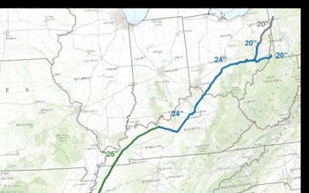 PHOTO:  Map showing general path of proposed Bluegrass Pipeline. Credit: Bluegrass Pipeline project