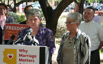 PHOTO: Partners Nelda Majors and Karen Bailey say they've been in a committed relationship for 55 years, but are barred from getting married in Arizona. Photo credit: Doug Ramsey.