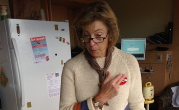 PHOTO: Nurse Vicki Neumeier sees herself as an ambassador for the Affordable Care Act, because she says on the job, she too often sees the consequences of being uninsured. Photo credit: Linnae Riesen, SEIU Healthcare 1199 NW.