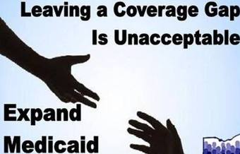 PHOTO:The new insurance Marketplace is open for business, but without the expansion of Medicaid many Ohioans still cannot access health insurance coverage. Image: expand Medicaid image. Courtesy: Ohio Consumers for Health Coverage.
