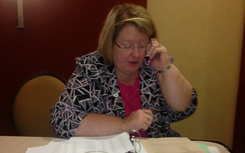PHOTO: VEA President Meg Gruber recruiting members to participate in the October 19 Day of Action. Photo credit: VEA