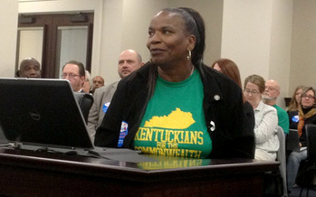 PHOTO: Tayna Fogle tells lawmakers why she believes most former convicts should have their voting rights restored automatically after serving their time. Photo courtesy Kentuckians for the Commonwealth.