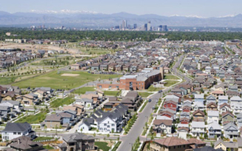 Photo: Aerial view of Stapleton, a city known for its walkability. Courtesy: Trulia.com