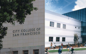 PHOTO: City College of San Francisco building. Hundreds of City College of San Francisco (CCSF) supporters will rally at Civic Center Campus this afternoon before marching to City Hall, where they will deliver thousands of postcards from community members to Mayor Ed Lee that demand City College stay open and accredited. Photo credit: CCSF