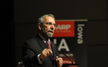 PHOTO: National AARP President Rob Romasco speaking at the Kroc Center in Omaha. Courtesy AARP Iowa.