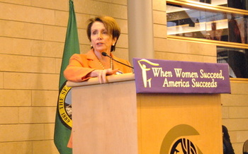 PHOTO: U.S. House Minority Leader Nancy Pelosi brought ideas about updating Washington workplaces to fit modern families' priorities to Seattle this week. Photo courtesy EOI.