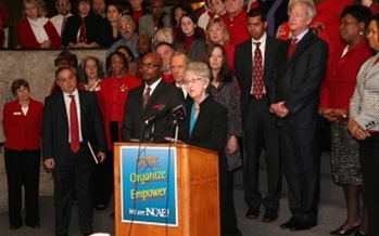 Photo: Wednesday the NCAE and NC Justice Center filed a lawsuit challenging the constitutionality of the school voucher law. Courtesy: NCAE